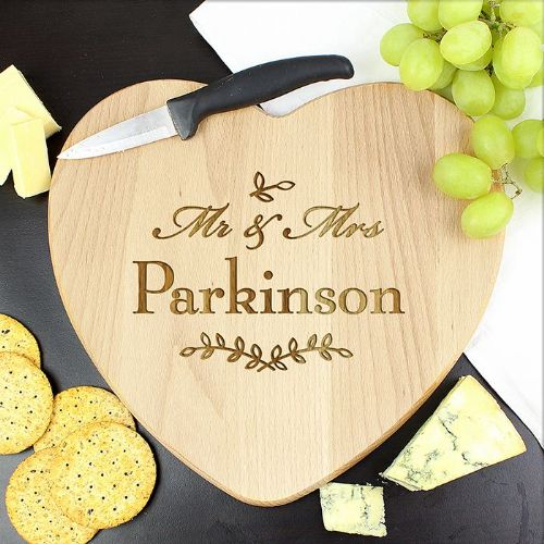 Personalised Mr and Mrs Heart Chopping Board